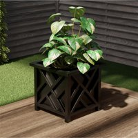 Square Planter Box- Black Lattice Container for Flowers & Plants- Includes Bottom Insert- Outdoor Pot- Garden, Patio & Porch Use by Pure Garden