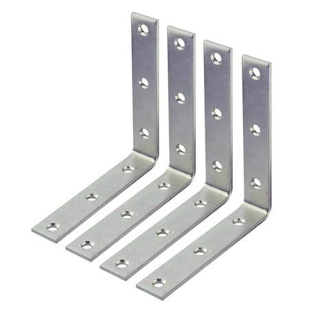 "Wideskall 4"" inch Heavy Duty Corner Brace Angle Repair Bracket w/Screws (Pack of 4)"
