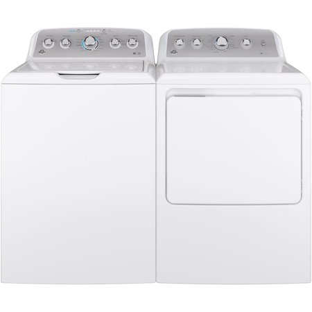 "GE Top Load Speed Wash GTW500ASNWS 27"" Washer with Front Load GTD45EASJWS 27"" Electric Dryer Laundry Pair in White"