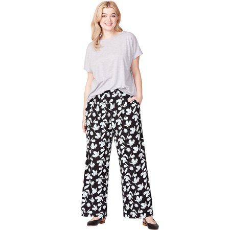 Ellos Plus Size Pleated Wide Leg Knit Pants