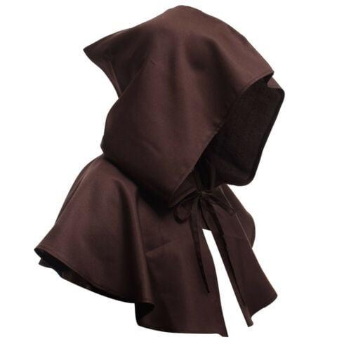 UNISEX Mens Ladies Hooded Cloak Black Velvet Vampire Devil Halloween Fancy Dress