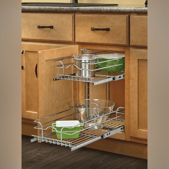 "Rev A Shelf 2 Tier Pull Out Base Cabinet Basket Drawer: Rev-A-Shelf 12"" Pullout 2 Tier Wire Basket Cookware"