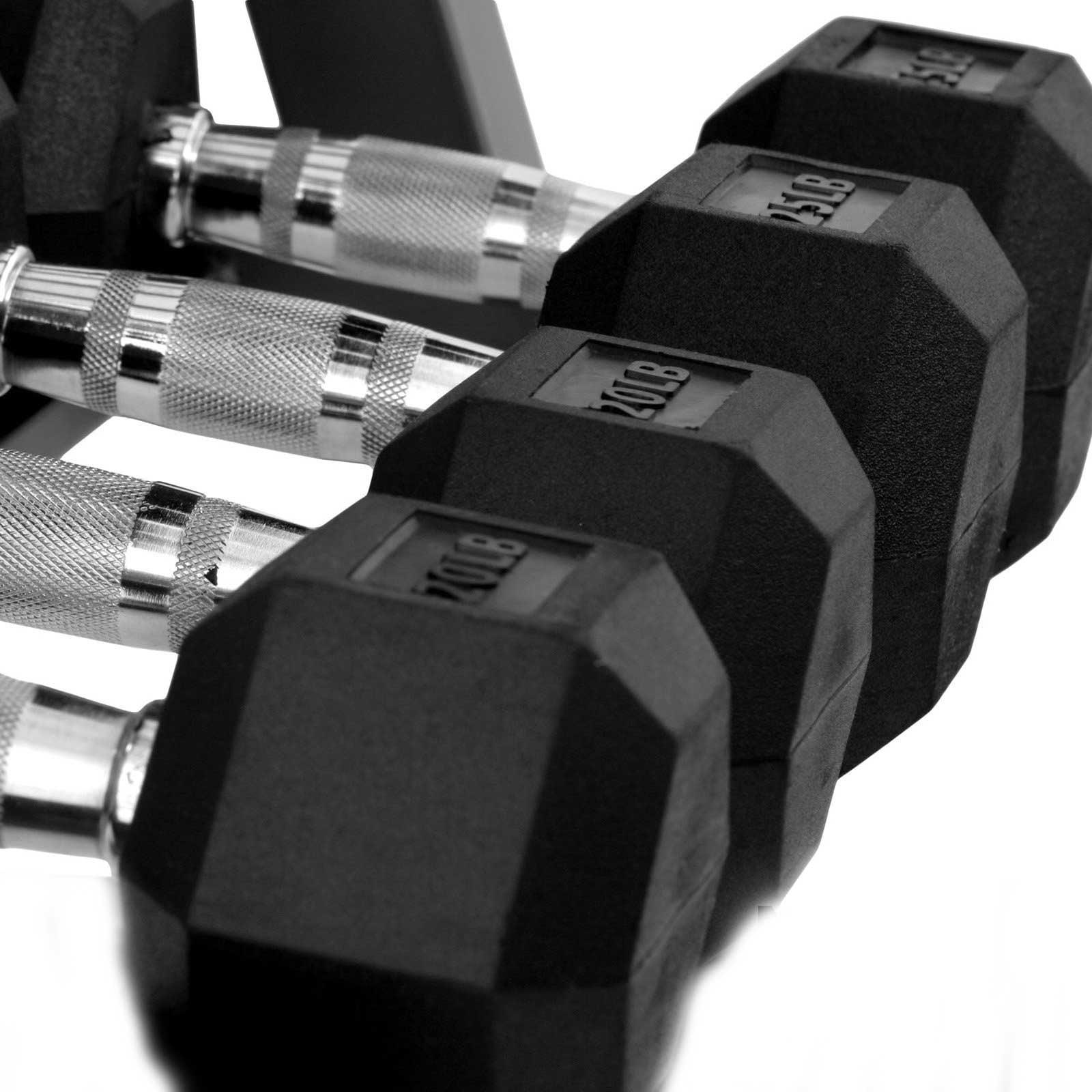 XMark Fitness Rubber Hex Dumbbell Set 5 lb - 25 lb