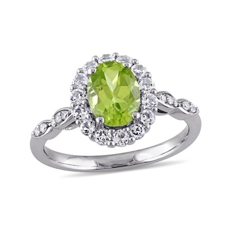 Peridot and White Topaz Fashion Ring 2 Carat (ctw) with Diamonds in 14K White Gold - image 4 of 4