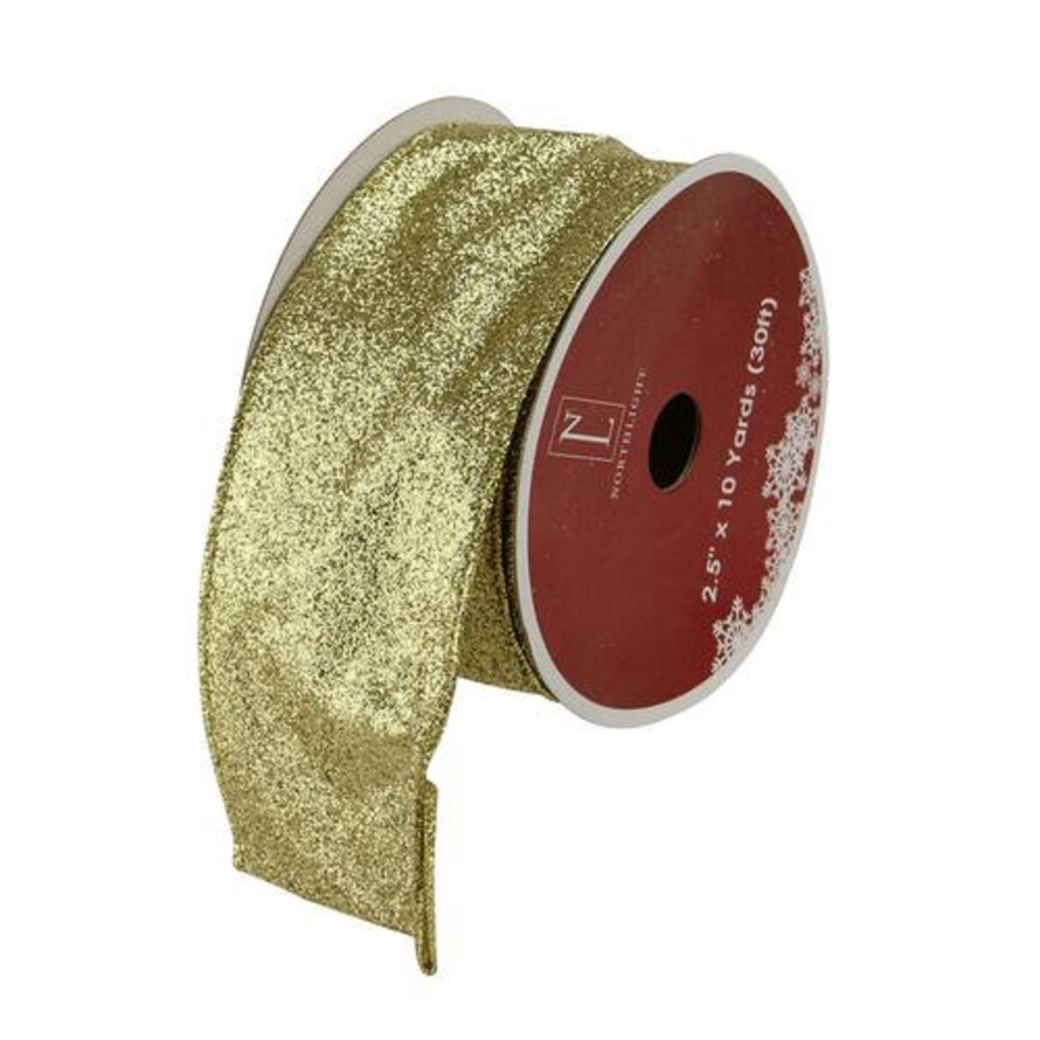 Sparkling Solid Gold Wired X-mas Craft Ribbon