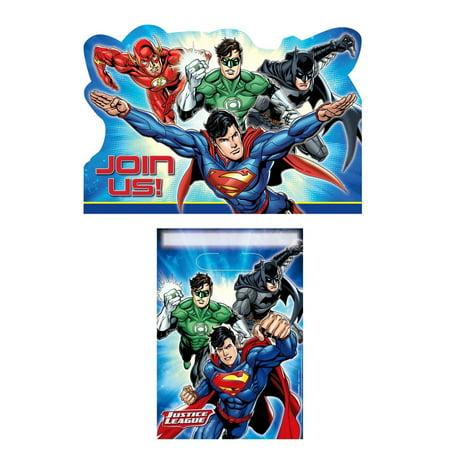 DC Justice League Superhero Birthday Boy Party Invitation Loot Bag 16 Count Set - Justice League Birthday Party