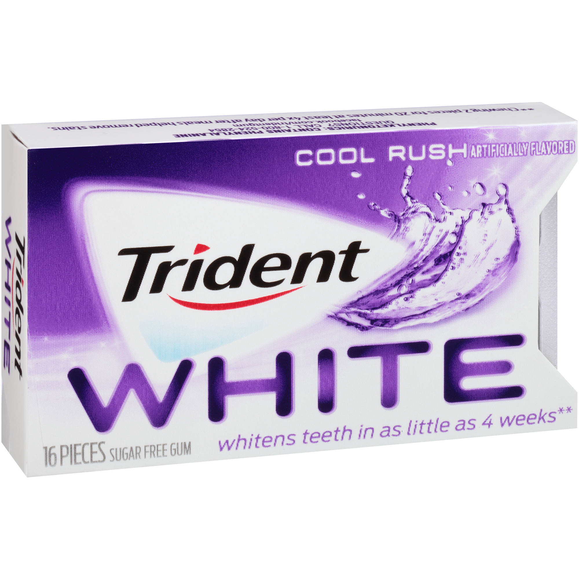 Trident White Cool Rush Sugar Free Gum, 16 pc