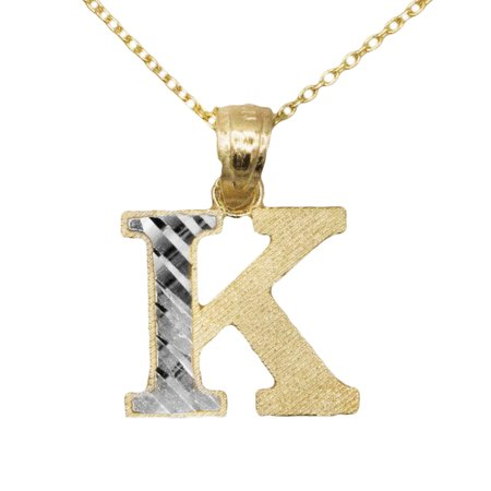 10k Yellow Gold Two Tone Letter K Initial with Diamond Cut Finish Pendant Necklace (No Chain) (Two Tone Boy Pendant)