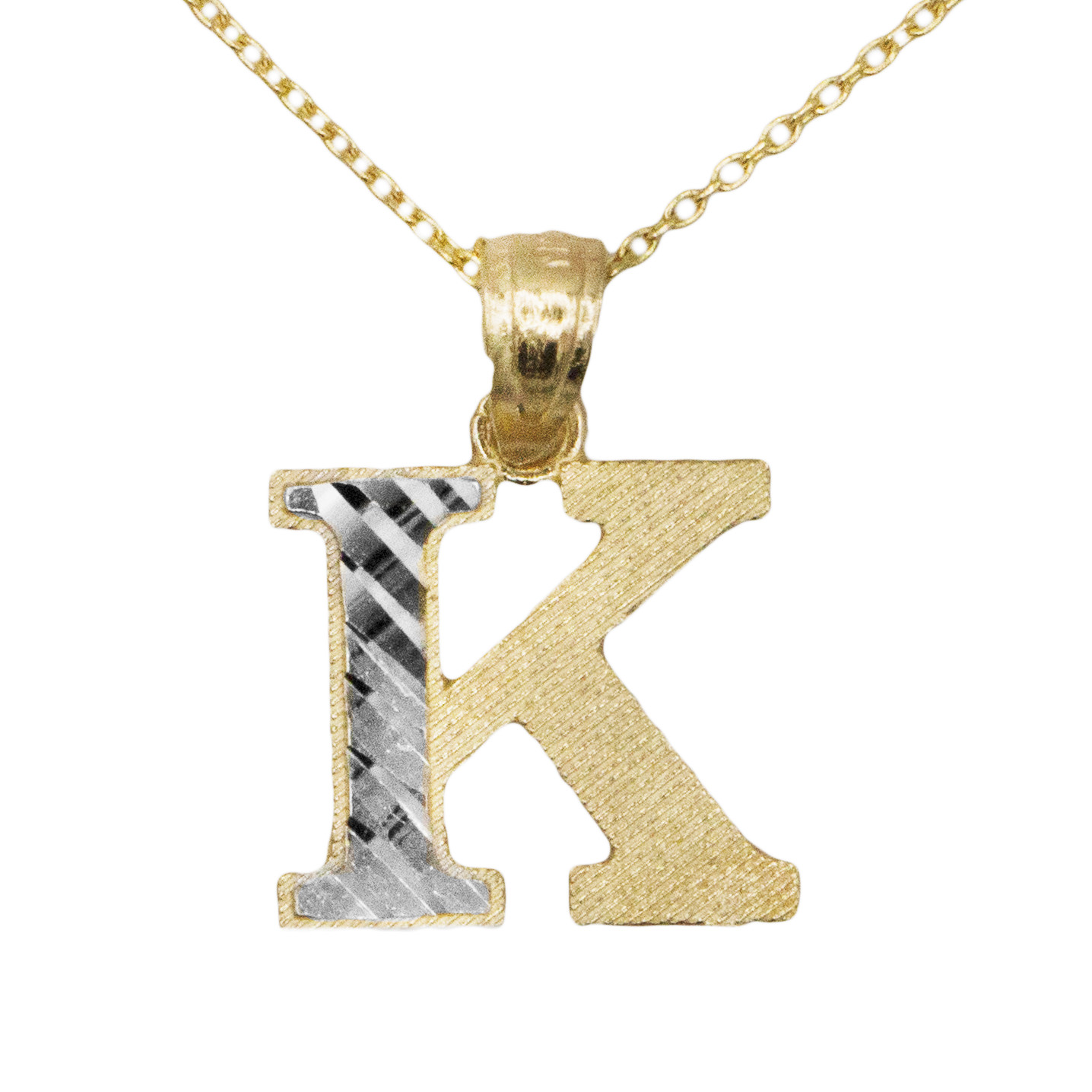 10k Yellow Gold Two Tone Letter K Initial with Diamond Cut Finish Pendant Necklace (No Chain)