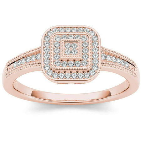 1/6 Carat T.W. Diamond Double Halo Cluster 10kt Rose Gold Engagement Ring