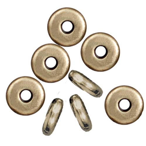 Brass Oxide Finish Lead-Free Pewter Disk Heishi Spacer Beads 5mm (20)