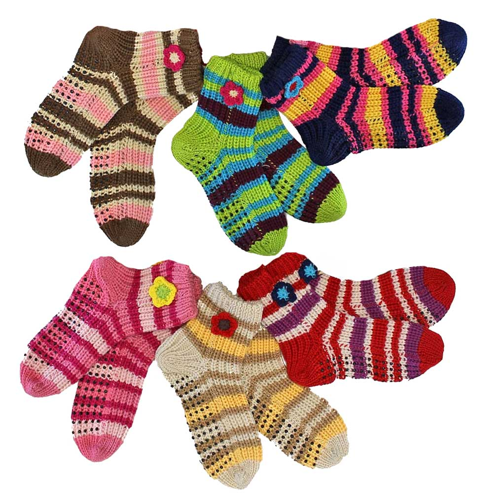 Luxury Divas Chunky Knit Multicolor Striped 6 Pack Winter Sweater Slipper Socks