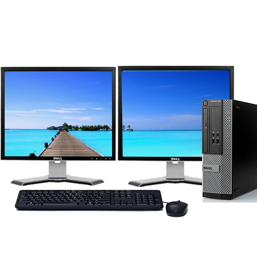 "Dell Optiplex 390 Desktop PC Tower System Intel 3.1GHz Processor 4GB Ram 500GB Hard Drive DVDRW Windows 10 Professional with 19"" Dual Screen Dell LCD's -Refurbished Computer"