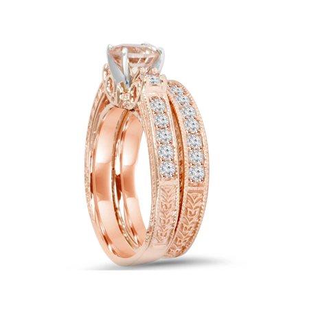 1 1/2Ct Vintage Diamond & Morganite Engagement Wedding Ring Set 14K Rose Gold - image 1 of 3