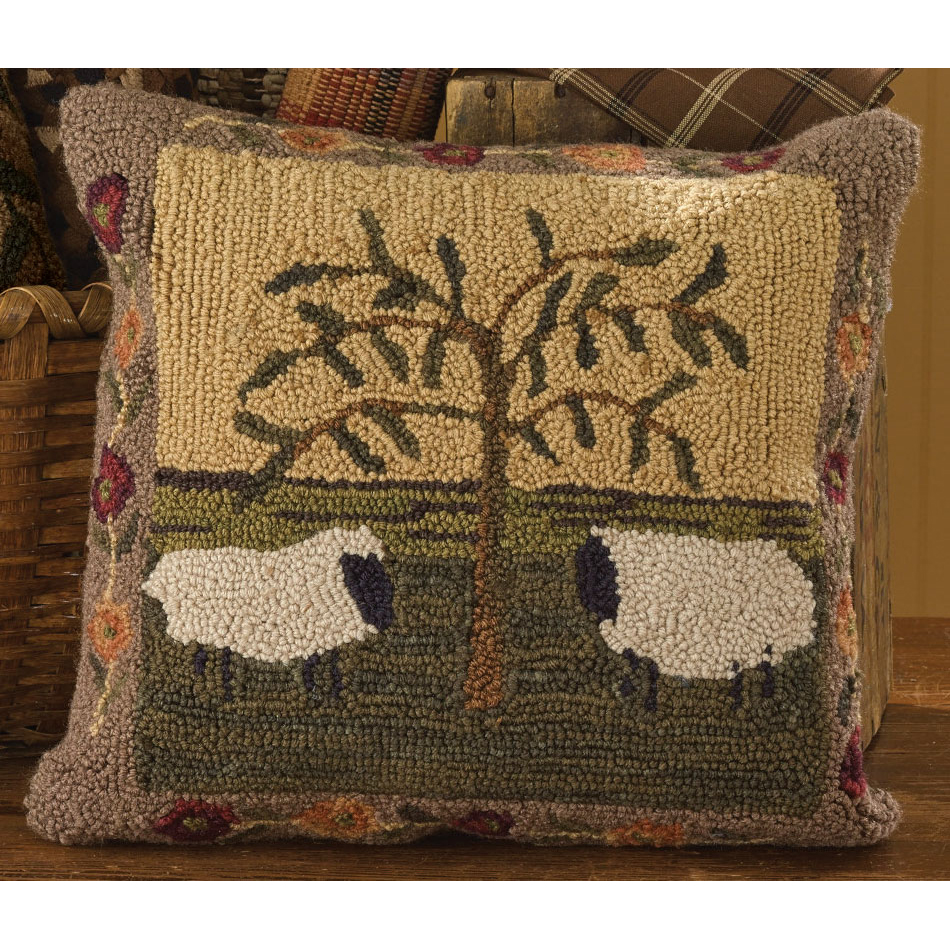 Willow and Sheep Hooked Pillow