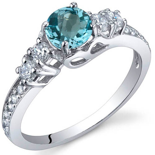 Oravo 0.50 Carat T.G.W. Swiss Blue Topaz Rhodium-Plated Sterling Silver Engagement Ring