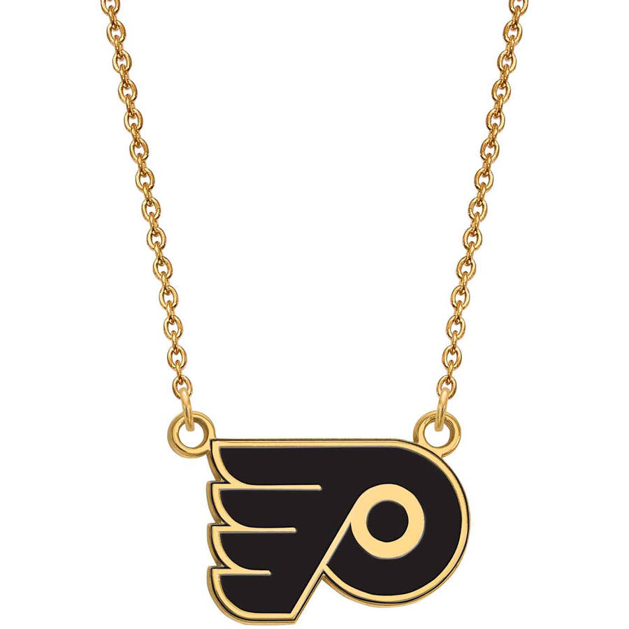 LogoArt NHL Philadelphia Flyers 14kt Gold-Plated Sterling Silver Small Enameled Pendant with Necklace