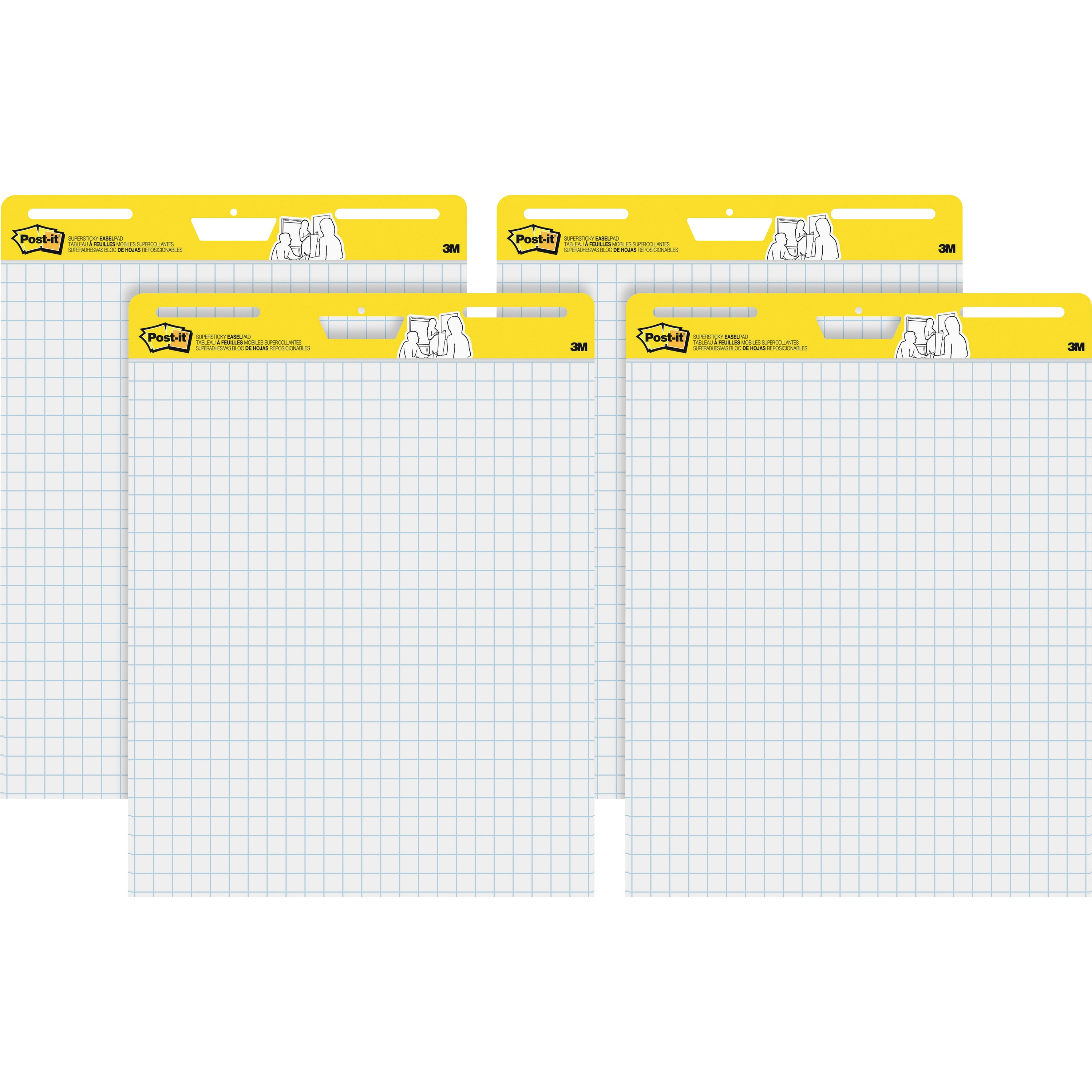 Post-it Self-Stick Easel Pads Value Pack, 25 x 30-Inches, White Grid, 30-Sheets/Pad, 4 Pads/Pack