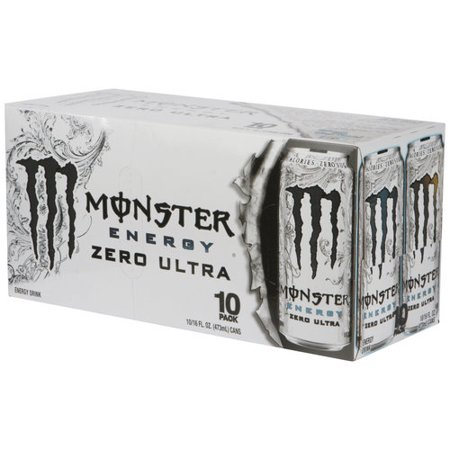 Monster Zero Ultra Energy Drink  16 Fl Oz  10 Pack