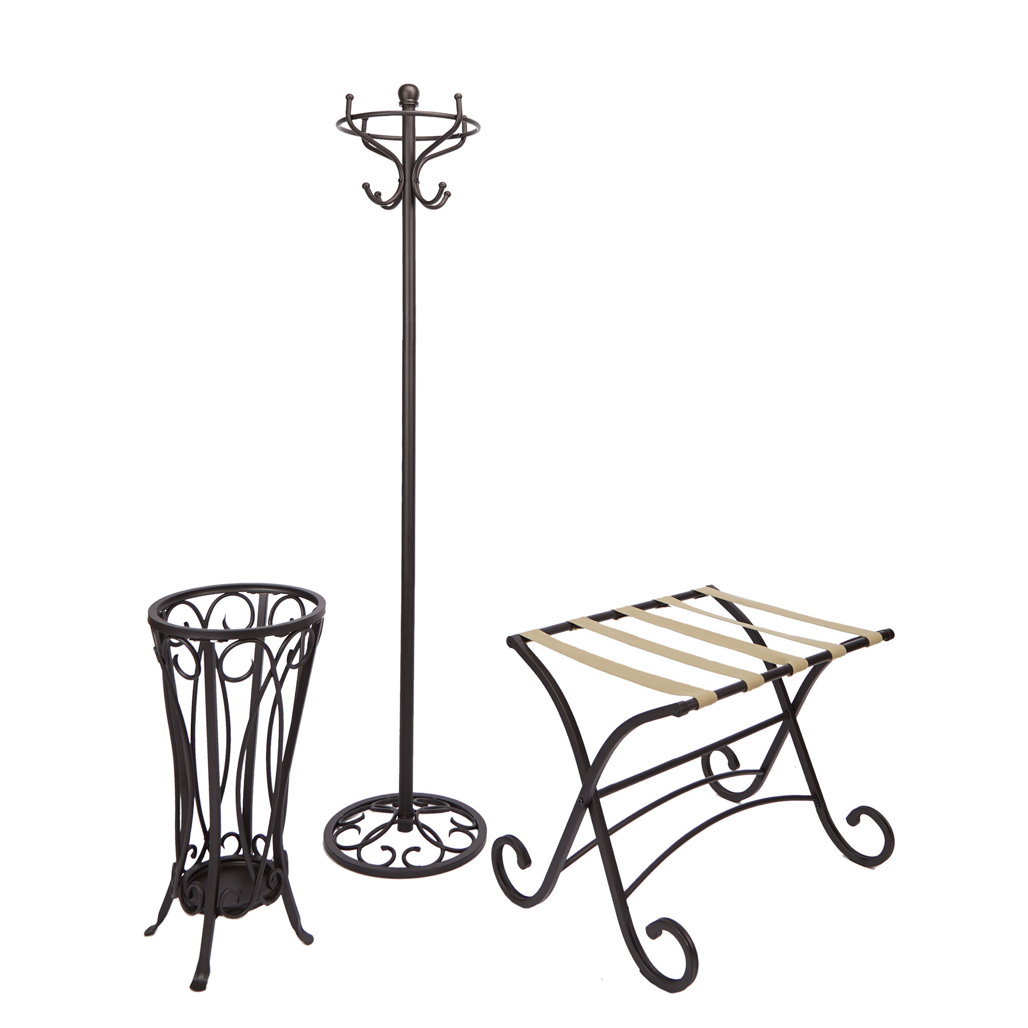 3-Piece Coat Rack, Luggage Rack and Umbrella Stand, Oil-Rubbed Bronze