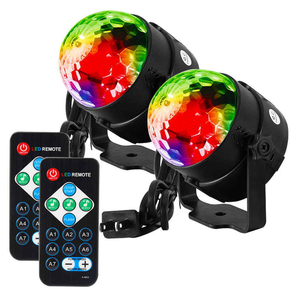 2PCS LED Disco Ball Light with Remote Control, Portable Mini RGB Party Lamp, 7 Colors Sound Actived Crystal Magic Stage... by GlowSol