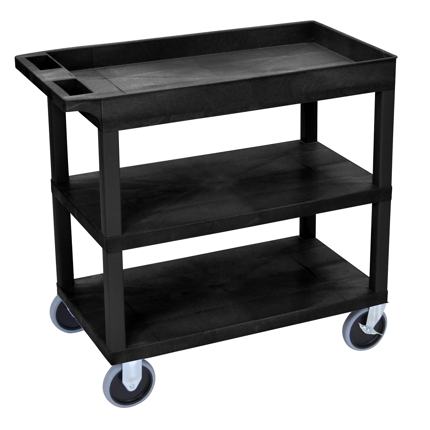 "Offex OF-EC122HD 18""x32"", Black Cart 2 Flat with 1 Tub Shelf"