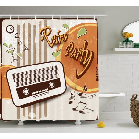 70s Party Decorations Shower Curtain, Retro Party Theme Art Old Radio Cocktails Floral Details, Fabric Bathroom Set with Hooks, 69W X 70L Inches, Orange Dark Brown Beige, by Ambesonne - 70s Theme Party Decorations