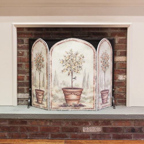Stupell Industries Orange and Lemon Trees 3 Panel Fireplace Screen by Overstock