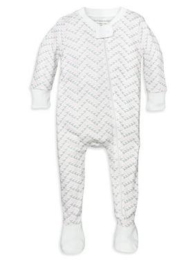 Burt's Bees Baby Baby Girl Chevron Bee Organic Zip Up Footed Pajamas