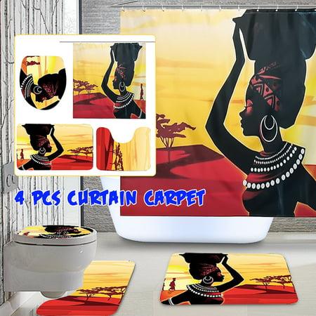 Waterproof Bathroom Set Exotic Customs African Girl Fabric Shower