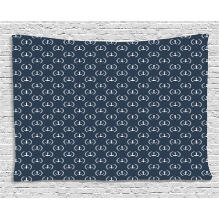 Navy Blue Tapestry  Marine Icons Laurus Nobilis Design Diagonal Arrangement Maritime Abstract  Wall Hanging For Bedroom Living Room Dorm Decor  60W X 40L Inches  Blue Grey White  By Ambesonne