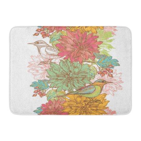KDAGR Elegance Retro Garden Flowers and Birds Border All are Doormat Floor Rug Bath Mat 30x18