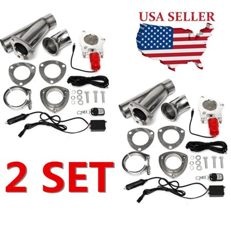 MATCC 2 Set 2.5 inch Electric Exhaust Valve Catback Downpipe System Remote Cutout E-cut Out Universal Car Vehicle Auto SUV Truck 64mm US 350z Cat Back Exhaust System