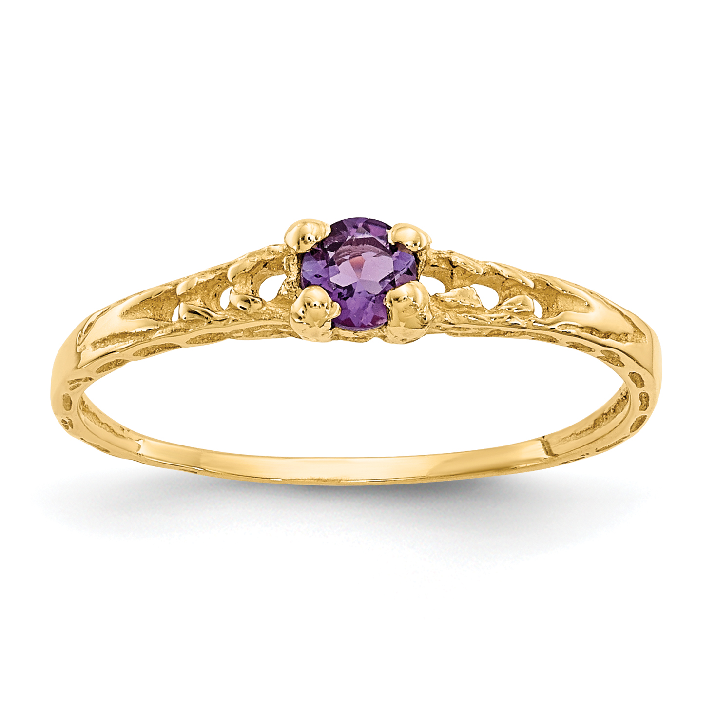 14kt Yellow Gold 3mm Purple Amethyst Birthstone Baby Band Ring Size 3.00 February Fine Jewelry Ideal Gifts For Women Gift Set From Heart