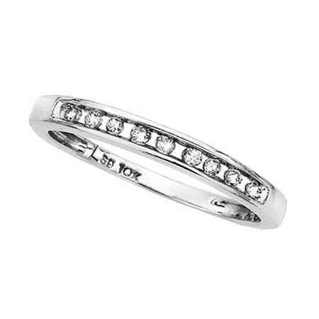 - Light Weight Channel Set Diamond Ring in 10K White Gold (1/10 cttw)