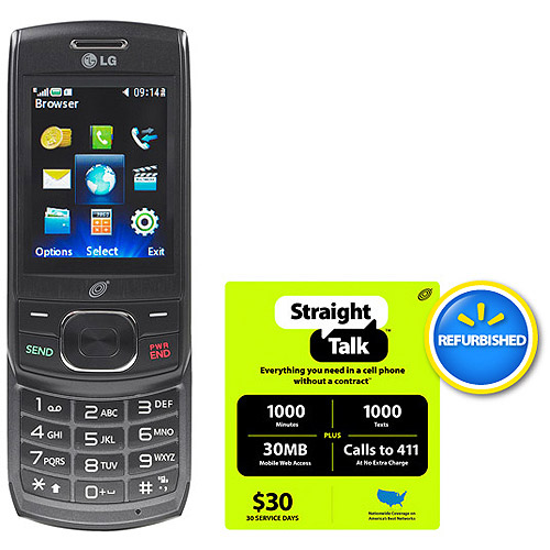 Straight Talk LG 620G Phone with $30 Card, Refurbished (GSM-A)