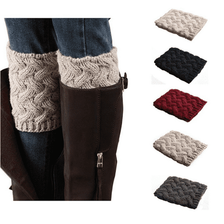5 Pairs Womens Short Boots Socks Crochet Knitted Boot Cuffs Leg Warmers Socks - Leg Warmer For Boots