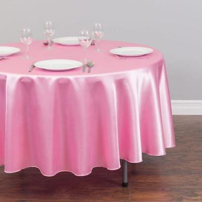 Pink Round Table.70 In Round Satin Tablecloth Pink