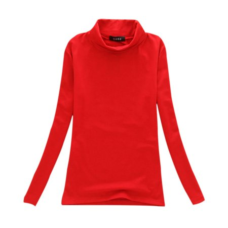Women Pullover Sweater Cotton Long Sleeves Turtleneck T-Shirt Tops Blouse