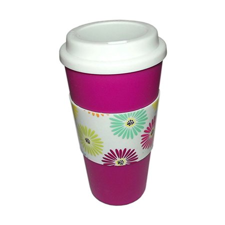 Flowers Plastic Coffee Tea Travel Cup (Plastic Coffee Cups)