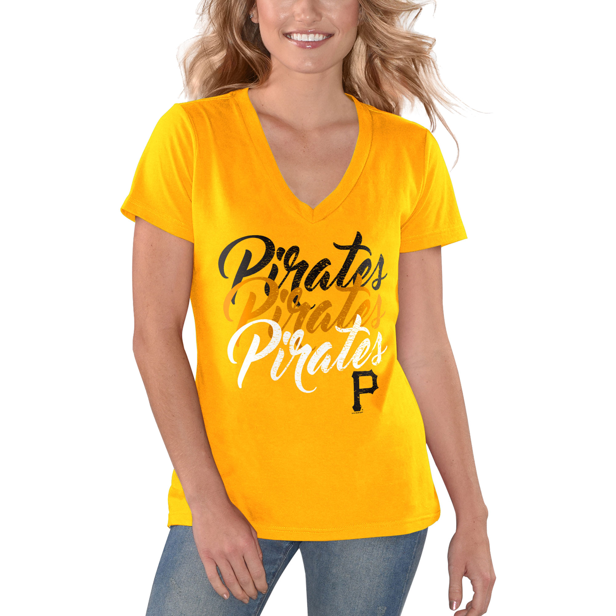 Pittsburgh Pirates G-III 4Her by Carl Banks Women's Game On V-Neck T-Shirt - Yellow