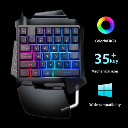 One Handed Gaming Keyboard, Mechanical Feeling Mini Gaming Keypad with Palm-Rest, 35 Keys RGB Backlit USB Wired Ergonomic Designed Portable Keyboard for Laptop PC Computer and Pro Gamer Ergonomic Hand Rest