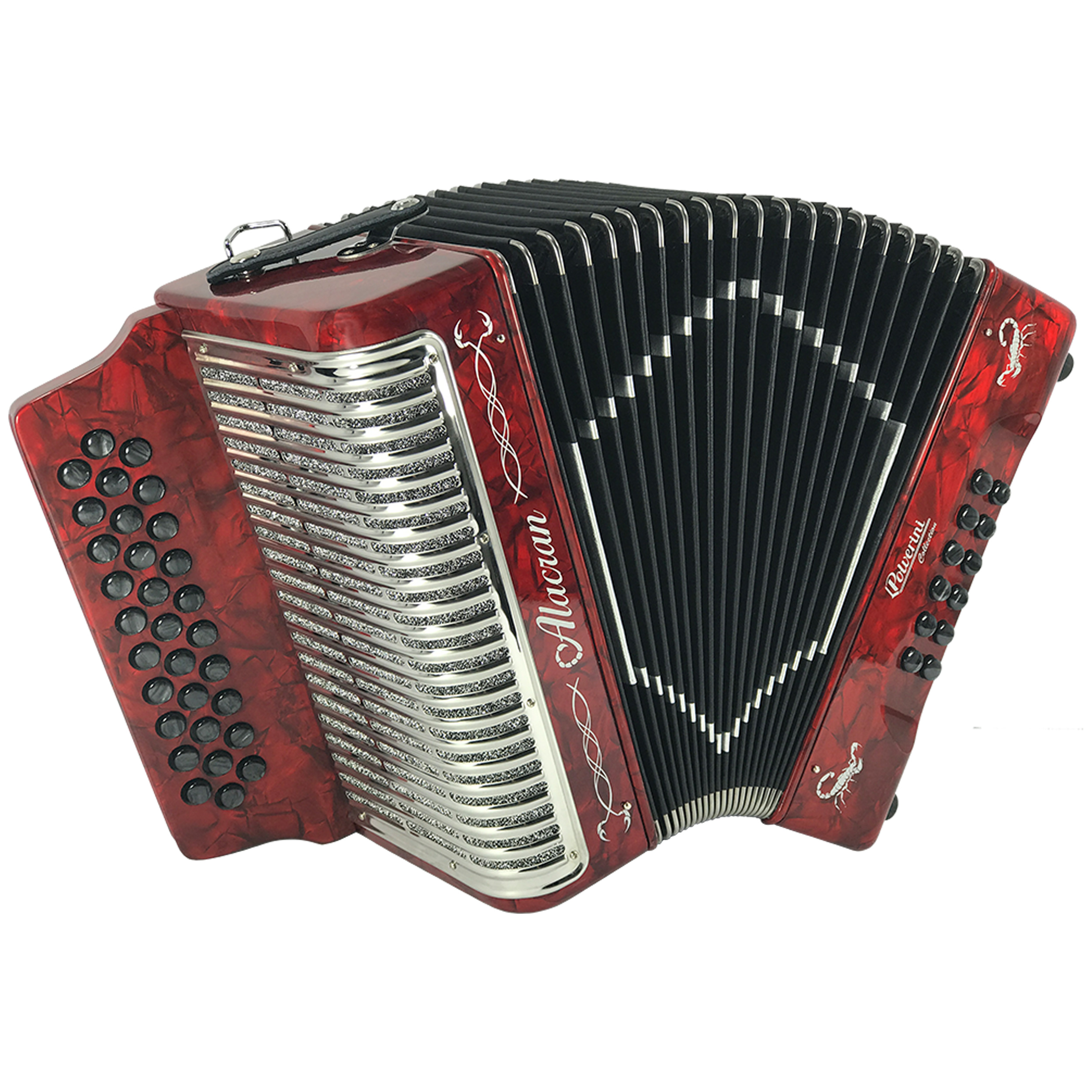 Alacran 31 Button 12 Bass Button Accordion FBE With Straps And Case, Red Pearl by Alacran