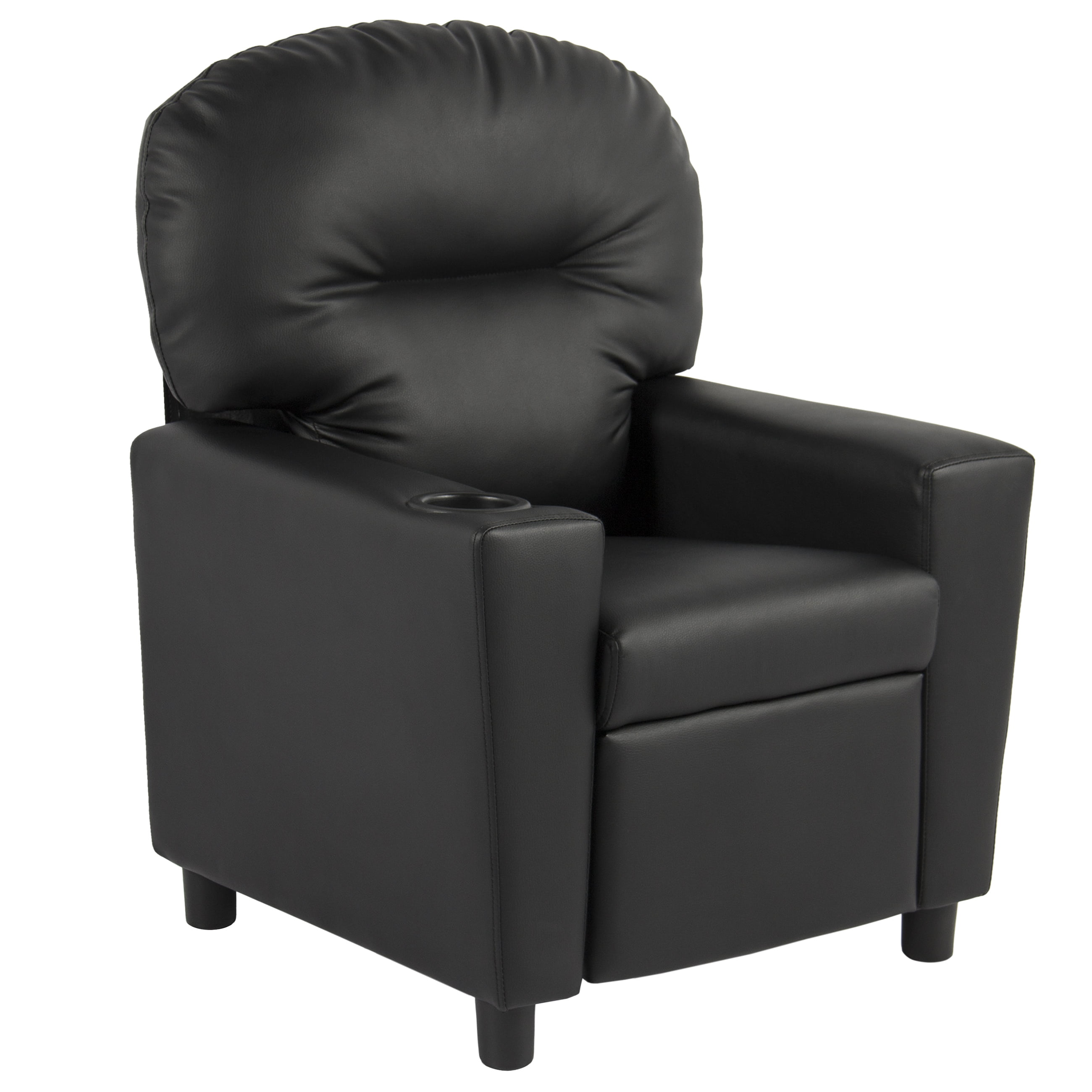 Best Choice Products Black Leather Kids Recliner Chair with Cup