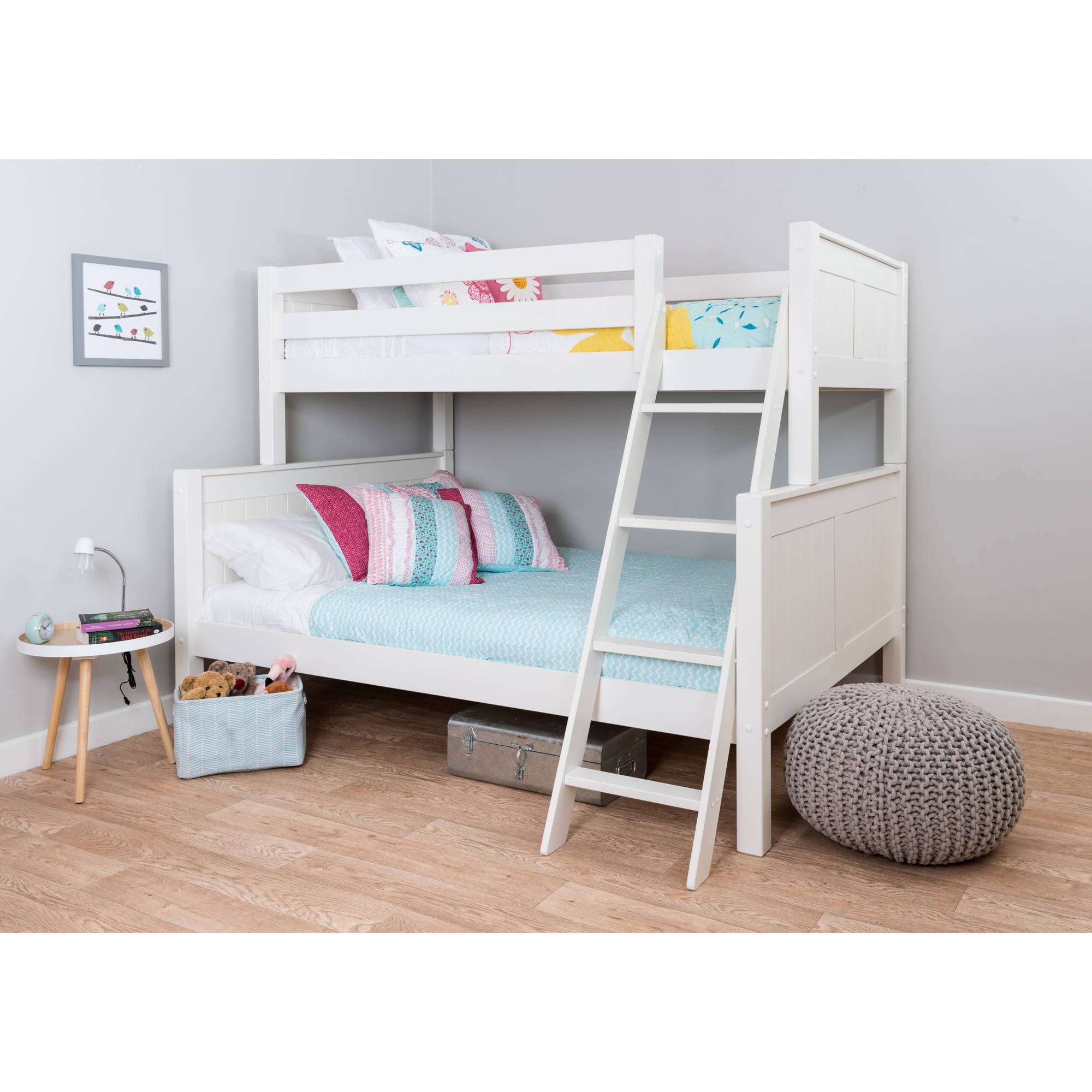 Nui Kids Twin Over Full Wood Bunk Bed White Walmart Com
