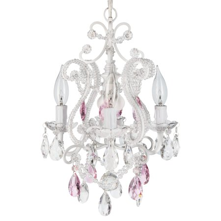 Amalfi Décor 4 Light Mini Crystal Beaded Plug-In Chandelier (White w/ Pink Crystals) | Wrought Iron Frame with Glass Crystals (Beaded Chandelier)