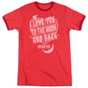 Moon Pie I Love You Mens Adult Heather Ringer Shirt