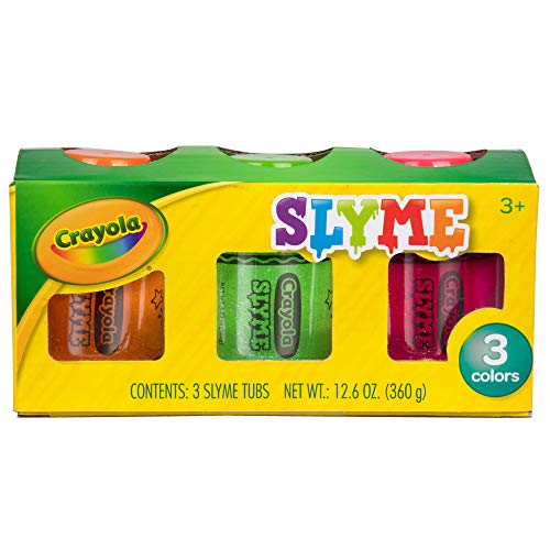 Crayola Slyme Ooey Gooey Sparkling Slime - Non Sticky Clean and Stretchy Putty - 3 Pack 4 Ounce Tubs