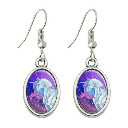 Majestic Unicorn Pink Purple Blue Novelty Dangling Drop Oval Charm Earrings