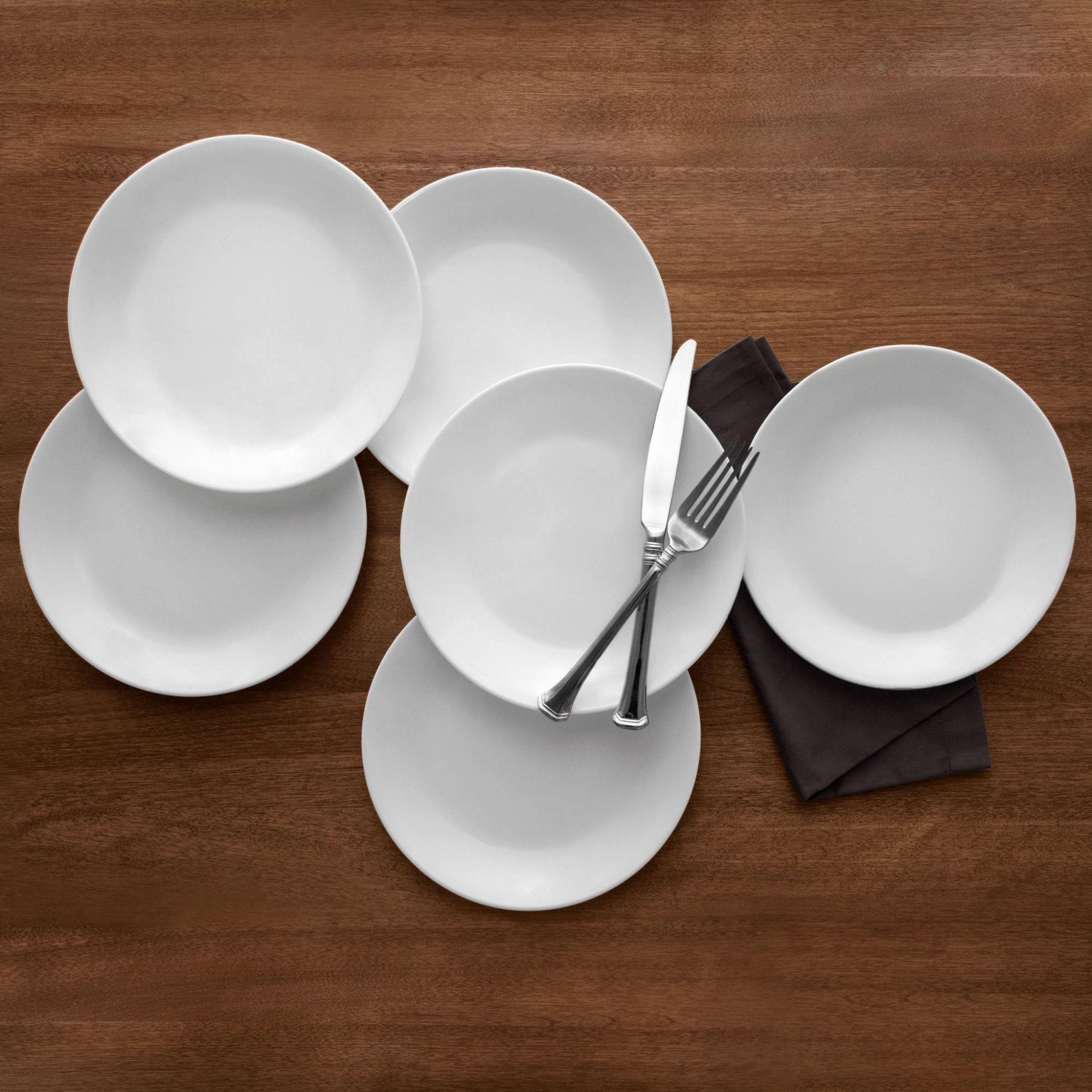 "Corelle Livingware Winter Frost White 8.5"" Lunch Plate, Set of 6"